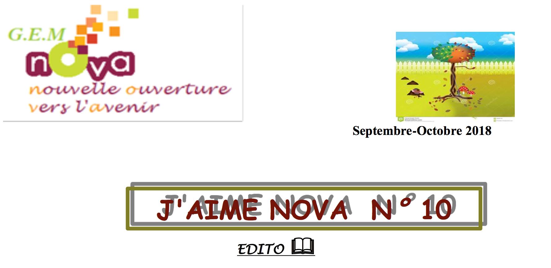 couverture du bulletin d'information de l'association GEM NOVA pour les mois de septembre et octobre 2018