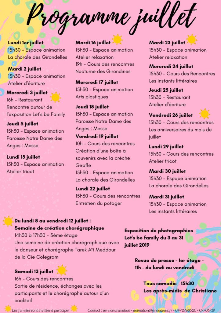 Programme d'activités juillet 2019 (image cliquable)