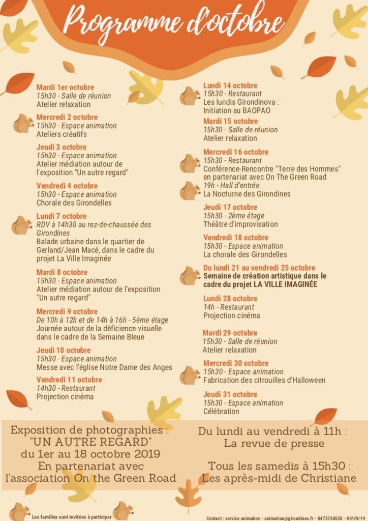 programme d'activité des Girondines pour le mois d'octobre 2018 (image jpg)